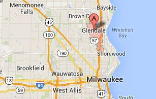 Map of the Glendale and Milwaukee area - 53209, 53211, 53212, 53217