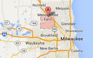 Map of Menomonee Falls and Milwaukee Wisconsin